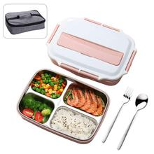 OENISALL 4-Compartment Lunch Box with Insulation Bag and Spoon Fork,Office Bento Boxes for Adults Office Work outdoor bento Pink