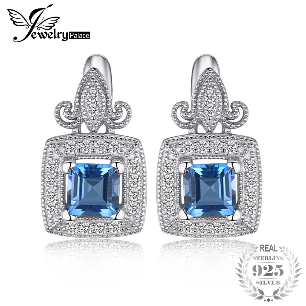 JewelryPalace Vintage Carved 1ct Square Natural London Blue Topaz Clip Earrings 925 Sterling Silver Brand Fine Jewelry For Women