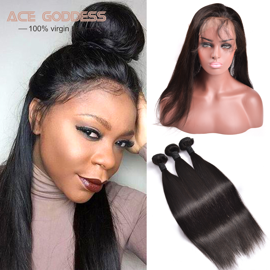 Pre Plucked 360 Frontal With Bundles 3PCS 7A Brazilian Straight Hair With Closure 360 Lace Frontal With Bundle With Baby Hair