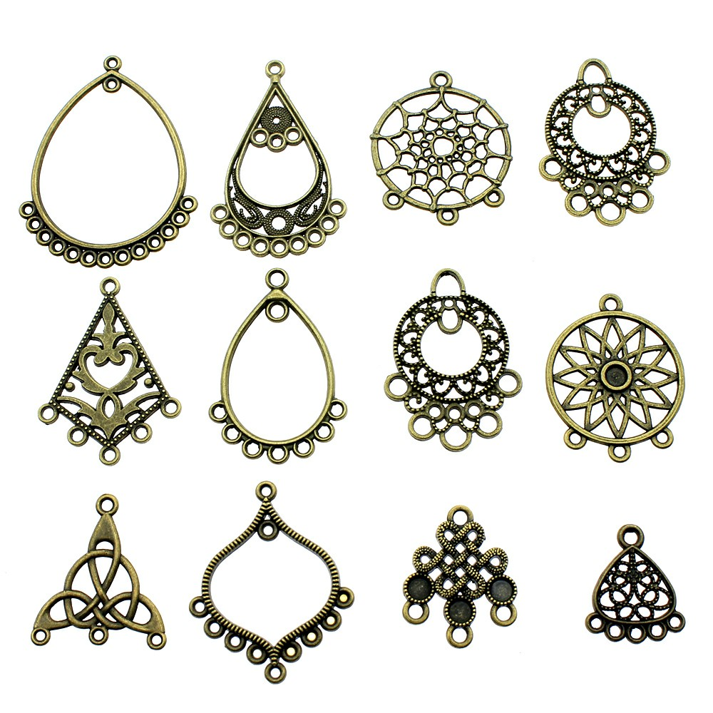 10pcs/lot Charms Dreamcatcher Antique Bronze Color Earring Connector Charms Pendants For Jewelry Making
