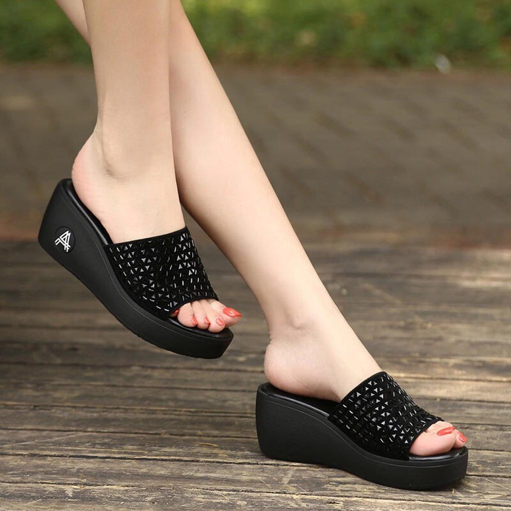 Summer Sandals Platform Casual-Shoes High-Heels Flat Women Genuine title=