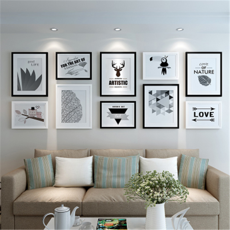 Creative Combination Photo Picture Frames Wall Decor Collage 10pcs Photo Frame Set Home Decoration Accessories Picture Frame Set