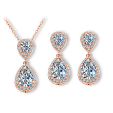 Stunning Silver/Gold/Rose Gold Austrian Rhinestone Cubic Zircon Jewelry Set Bridal Wedding CZ Necklace Pendant Earring Set azora my fox lady rose gold color austrian rhinestone paved fox pendant necklace and earring set tg0074