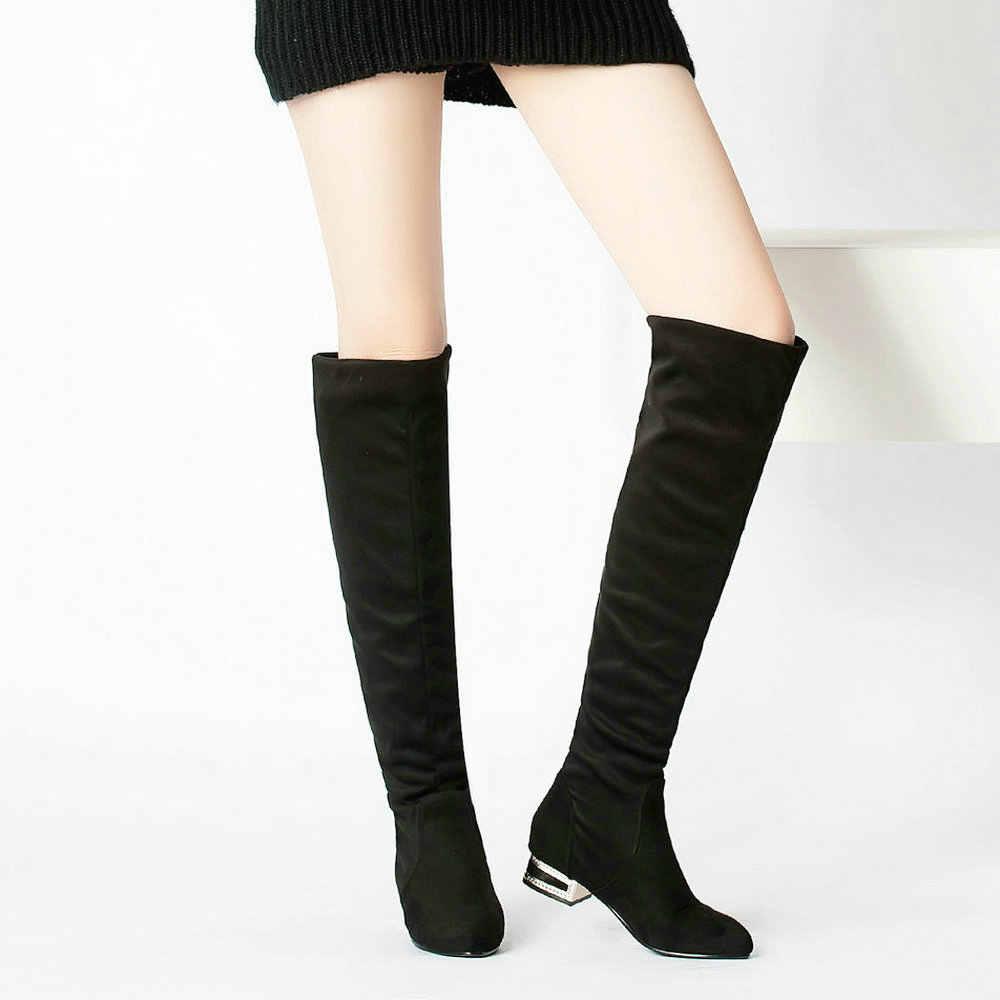 Bayan Akın Diz Çizmeler Kalın Alçak Topuk Moda Rahat Çizmeler Sivri Burun Kış Bayan Ayakkabıları Gri Siyah Dropshipping