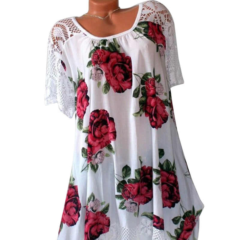 a7ce5b4ecb9 SHUJIN Plus Size T Shirt Women 5XL Sexy Hollow Out Womens Tops Tees Summer  2018 Fashion Floral