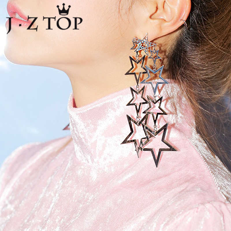 JZTOP Exaggerated Star Tassel Earrings Woman Metal Hollow Five Pointed Star Long Stud Earrings Fashion Hip Hop Brinco Jewelry
