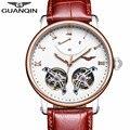 Relógio dos homens de luxo guanqin moda & casual couro fivela relógio turbilhão mecânico automático auto-vento relógios de pulso