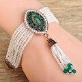 Blucome blanco africano granos de la resina pulseras mujeres de la vendimia de la borla de accesorios flor verde mano joyas turco pulsera de los brazaletes
