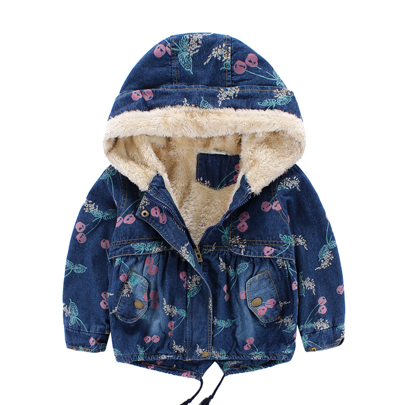 ФОТО 2017 baby girl clothes girl winter coat hooded fleece thicken cherry printed winter girls jacket denim fashion kids outwear 2-7T