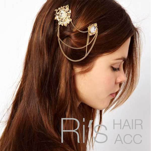 9226b6f58c40a RETAIL vintage flower plate and gold chain hairgrips hair clip for women  party hair accessories women