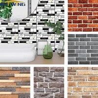 Self adhesive Wall Sticker 3D Wall Paper PVC Brick Stone Rustic Effect creative diy Home kitchen bathroom Decor kidsroom 30x30cm