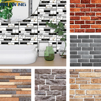 Self adhesive Wall Sticker 3D Wall Paper PVC Brick Stone Rustic Effect creative diy Home kitchen bathroom Decor kidsroom 30x30cm