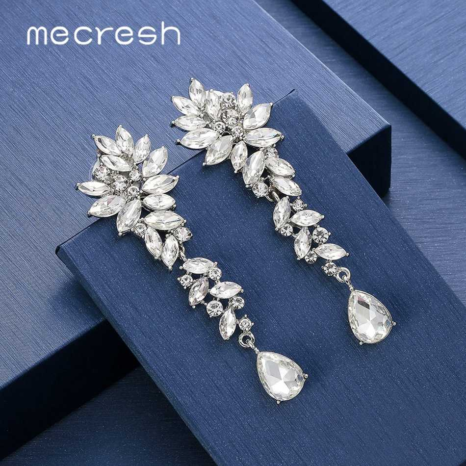 Mecresh Cluster Leaf Crystal Women Wedding Drop Earrings Silver Color Bridal Teardrop Long Earring Pin Clip on Earrings MEH1566