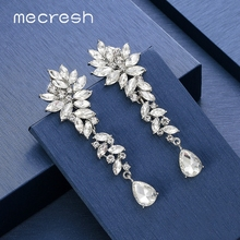 Mecresh Cluster Leaf Crystal Women Wedding Drop Earrings Silver Color Bridal Teardrop Long Earring Pin Clip on MEH1566