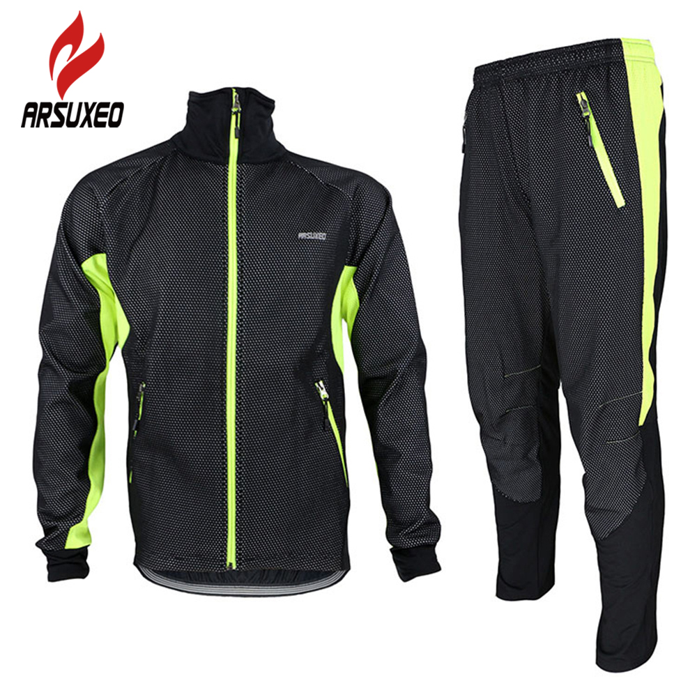 цена ARSUXEO Winter Warm Up Fleece Thermal Cycling MTB Bike Bicycle Jacket Pants Suit Windproof Waterproof Wind Coat Clothing Set онлайн в 2017 году