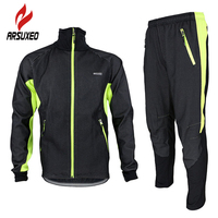ARSUXEO Winter Warm Up Fleece Thermal Cycling MTB Bike Bicycle Jacket Pants Suit Windproof Waterproof Wind Coat Clothing Set