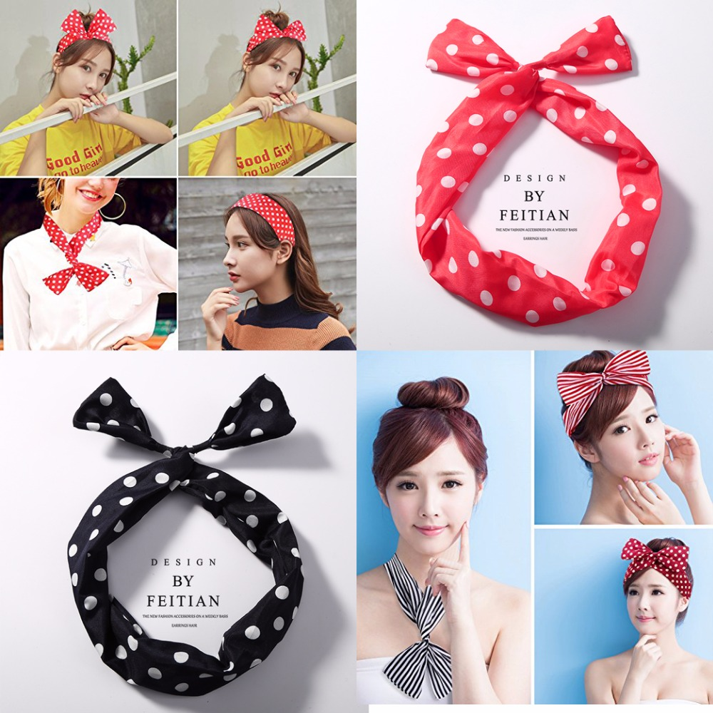 Koearn Triangle Design Hairband DIY Ties Headbands for Women Girls Hair Accessories Cute Dot Headwear Gifts