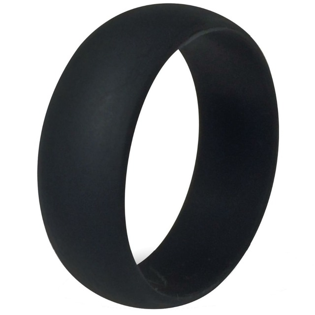 8MM Black Flexible Hypoallergenic Crossfit Silicone Wedding Bands for Women