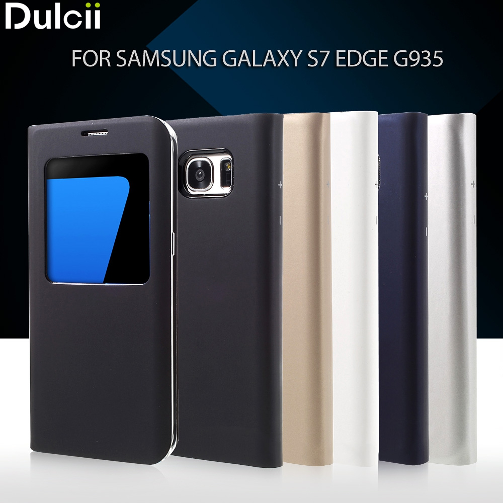 Dulcii für Galaxy S 7 rand PU Leder Fällen 5,5 zoll Fenster Ansicht Leder Abdeckung Fall für Samsung Galaxy S7 rand G935 Telefon Fall