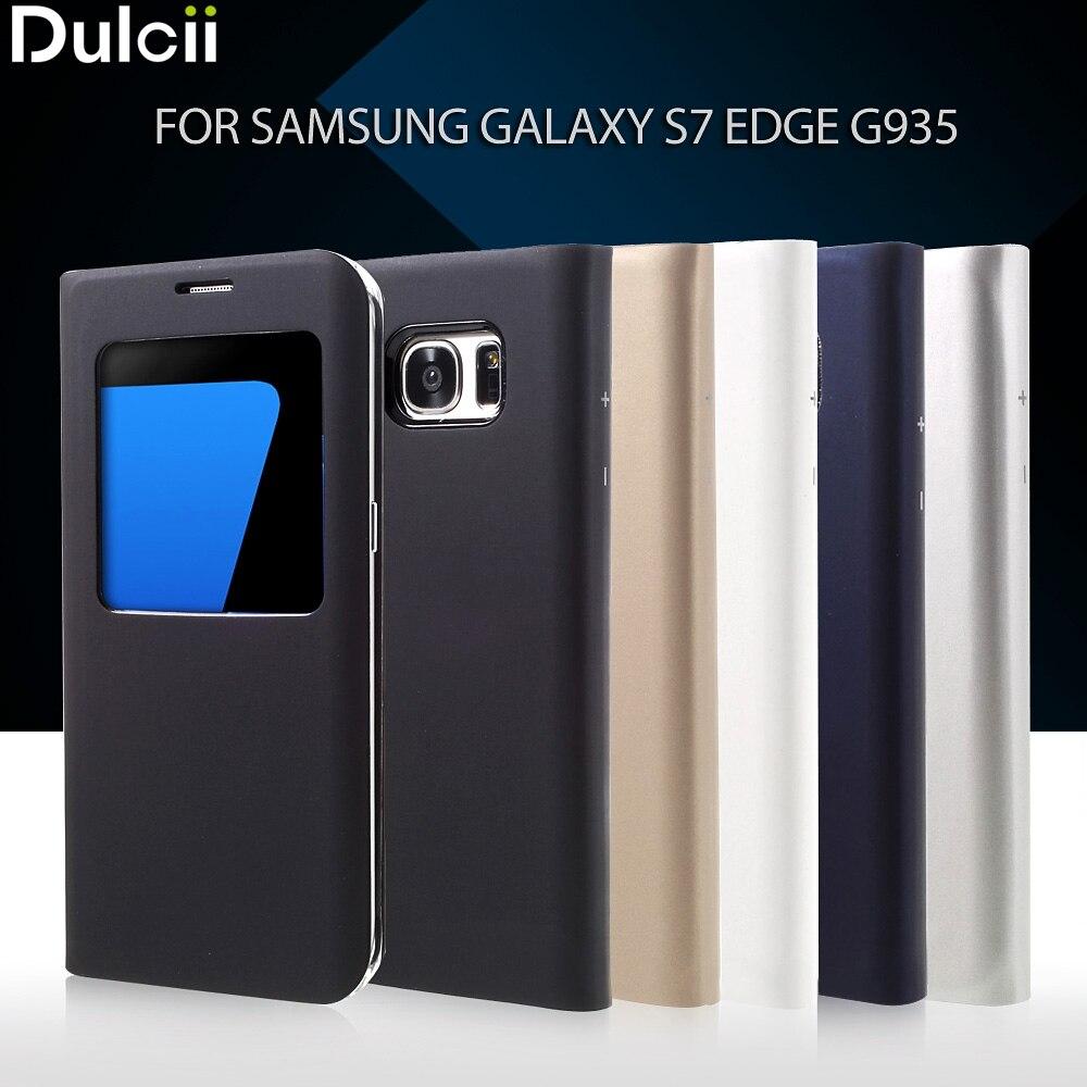 Dulcii pour Galaxy S 7 bord PU En Cuir Cas 5.5 pouce Fenêtre voir Housse En Cuir pour Samsung Galaxy S7 Bord G935 Téléphone Cas