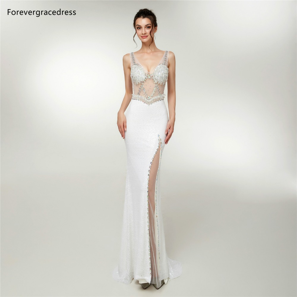 Forevergracedress Sexy White Deep V Neck   Prom     Dresses   2019 Mermaid Beading Split Formal Party Gowns Plus Size Custom Made