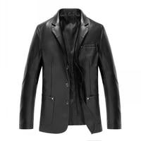Leather Men S Sheep Skin Suit Collar Collar Slim Short Paragraph Jacket Thin Jacket