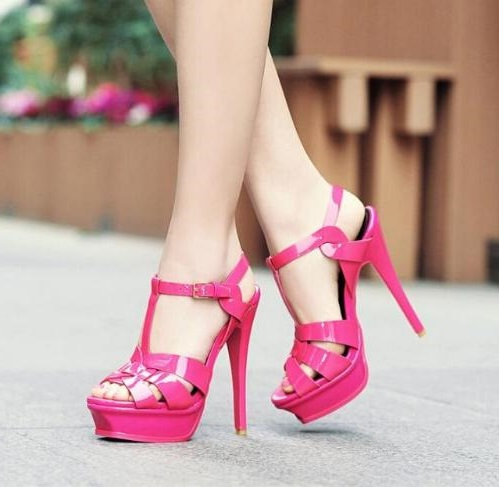 Summer Fashion Woman Platform Sandals Sexy Peep Toe Cut outs T-bar Ankle Strap Pumps Black Pink Cut-out High Heel Dress Shoes fashion summer shoes metallic leather pompom caged ankle strap sandals peep toe cut outs spike heel gladiator sandals miquinha