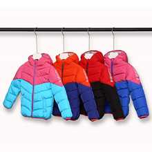 Patchwork Winter Warm Cotton Child Coat Windproof Hooded Baby Boys Girls Jackets Children Outerwear For 5-14 Years Old
