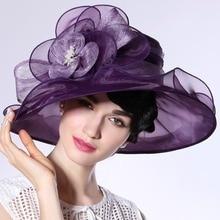 Free Shipping Women Hat Summer Elegant Ladies Organza Hat Purple Organza Sinamay Patchwork