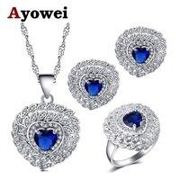 Ayowei в форме сердца дизайн для женщин синий серебряные серьги с цирконием цепочки и ожерелья кулон кольца наборы для ухода за кожей США Разме...