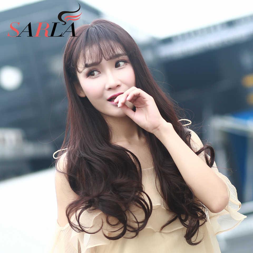 Сарла зажим для парика синтетический парик волос для женщин натуральный длинный волнистый зажим в челке наращивание волос Toppers черный коричневый C10