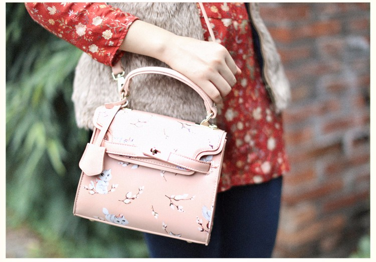 x11 New Sale Bolsas Mujer Small Peekaboo Saddle Faux Leather PU Pink Cat Floral Women\'s Handbags For Lady  Messenger Bags Totes