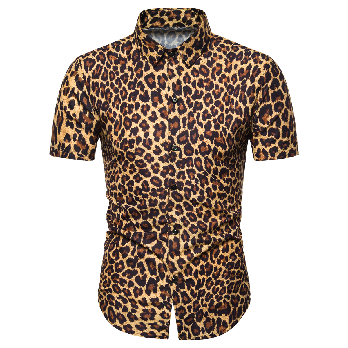 Miicoopie Mens Short Sleeve Shirts For Summer Leopard Print Casual Fashion Men Shirts
