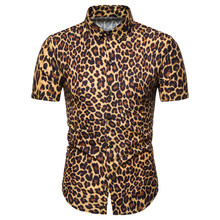 Miicoopie Mens Short Sleeve Shirts for Summer Leopard Print Casual Fashion Men