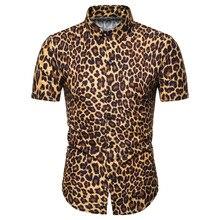Miicoopie Mens Short Sleeve Shirts for Summer Leopard Print Casual Fashion Men Shirts