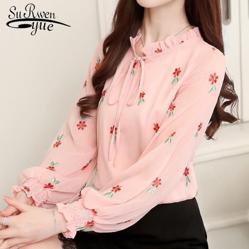 fashion woman blouses 2019 floral embroidery chiffon blouse shirt long sleeve white pink tops blusa feminina shirt women 0967 40