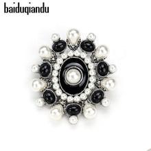 baiduqiandu Black Enamel Flower Imitation Pearl Brooch Pin DIY Bridal Wedding Bouquet Decor Brooch Elegant Party Accessories