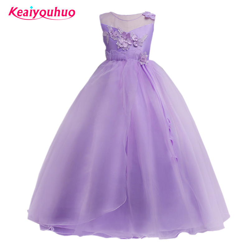Kids Girls Wedding Flower Girl Dress Princess Party Pageant Formal Dress Sleeveless Long Dresses for Teen Girl 4-9-14 Years Wear girls short in front long in back purple flower girl dress summer 2017 girl formal dress kids party princess custume skd014283