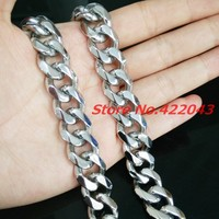 24 15mm Wide Cool Mens Jewelry Silver Tone 316L Stainless Steel Cut Cuban Curb Chain Men