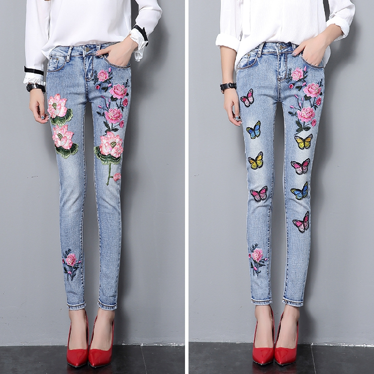 LYFZOUS Slim   Jeans   With Embroidery Woman High Waist Washed Lotus Butterfly   Jeans   Femme Skinny Streetwear Denim Pants Trousers
