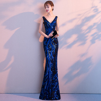 2019 New Double V Long Evening Dress Robe De Soiree Sexy Backless Luxury Blue Sequin Formal Party Dress Prom Gowns LF353