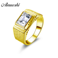 AINUOSHI Luxury 14K Solid Yellow Gold Solitaire Ring for Men Bezel Setting Rectangle Cut Sona Diamond Engagement Wedding Band
