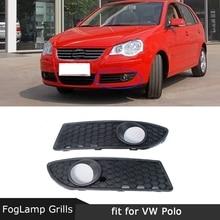 ПТФ в передний бампер крышка Foglamp сотовая решетчатая рамка для VW Polo MK4 9N3 2005-2009 Facelift 2 шт./компл. ABS черный