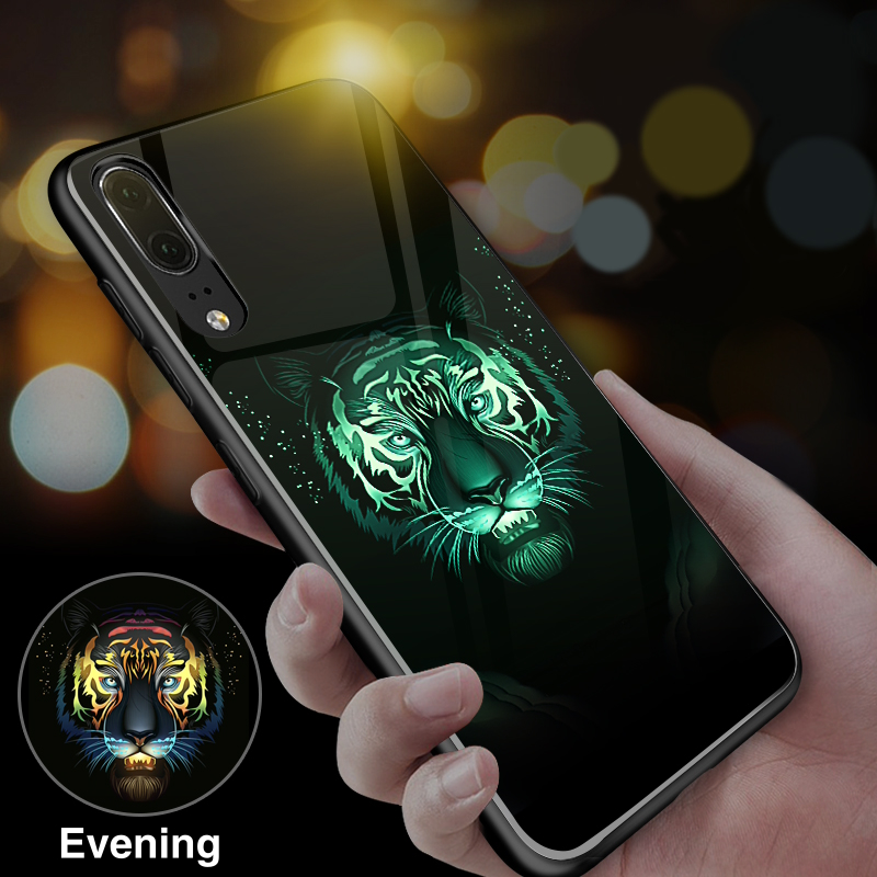 Coque Funda Tiger Wolf Luxury Luminous Glass Phone Case For Huawei p20 Pro p10 Back Cover p20pro p10plus
