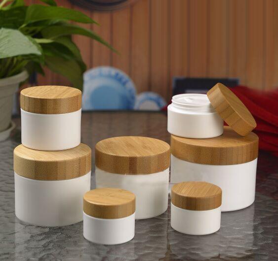 20pcs/lot 10/20/30/50/100/150/200g White PP Eye Cream Jar Pot With Bamboo Cap Empty Facial Mask Box Cosmetic Refillable Bottle