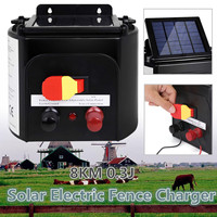 5km ABS Waterproof AU Plug Solar Power Electric Garden Farm Fence Fencing Energizer Charger Controller Monocrystalline Silicon