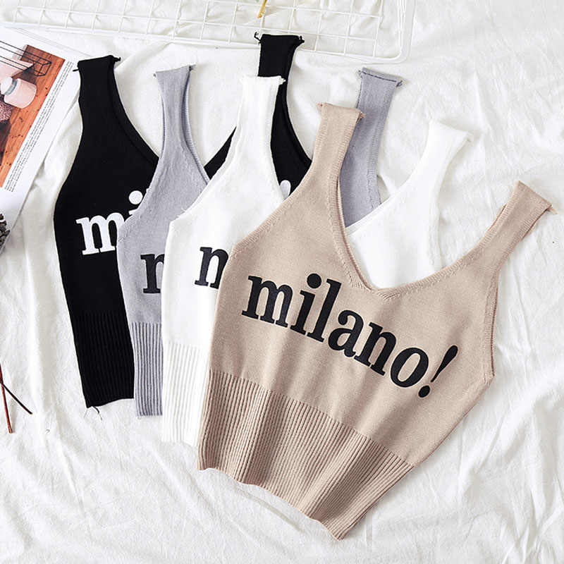 HELIAR Female Fashion Camisoles Letter milano Sexy 2019 Chic Crop Top Lady White Crop Top Summer Cotton Solid Tank Tops Femme