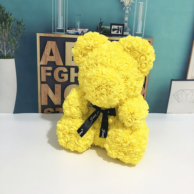 Wedding Customized Gift Multicolor Valentines Gift 40cm PE Yellow Rose Bear for Girlfriend Gift Anniversary Gift free shipping 1