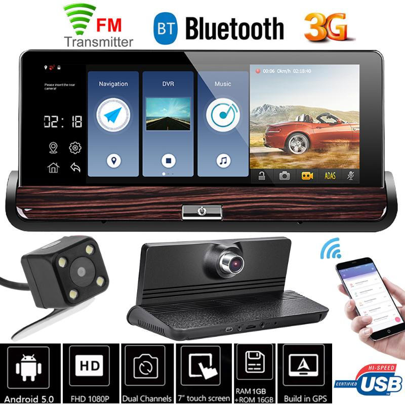 7 inch Car DVR Camera Touch Screen Android 3G With Wifi GPS Dash Cam Video Recorder Rear View Mirror Car DVRS 140 Wide Angle New