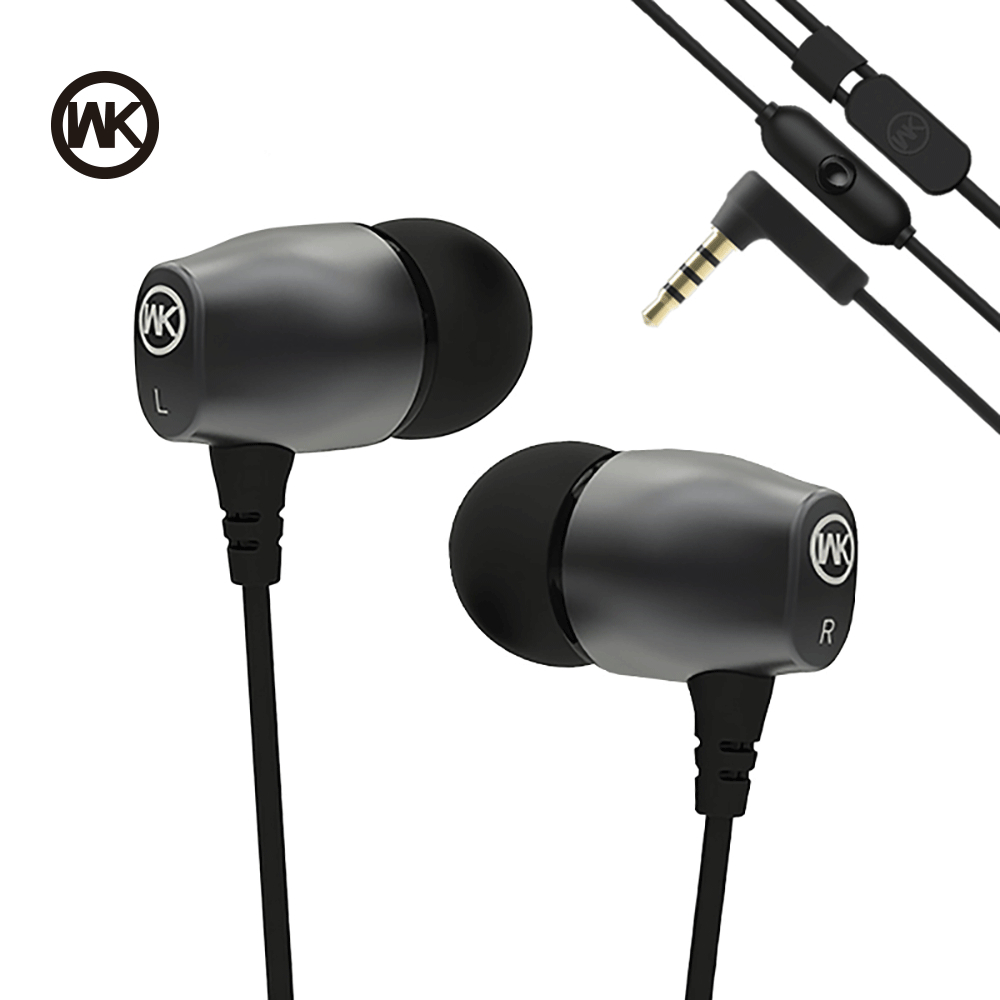 цена на WK Supre Bass Wired In-ear Earphone Metal Stereo Sound Hifi Headset with HD Mic Fone De Ouvido for iPhone Xiaomi/PC/MP3 3.5mm